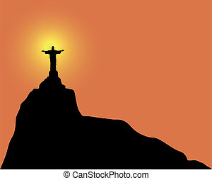 Christ the Redeemer statue - Silhouette of a statue to Jesus...