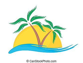 Logo of tropical island. - logo of tropical island with palm...
