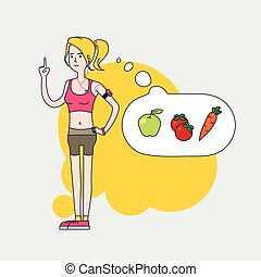 athletic slim woman is thinking about healthy vegetable diet...
