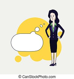 Elegant business woman vector cartoon character with cartoon...