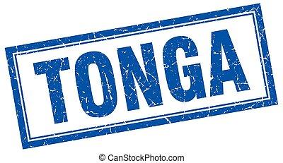 Tonga blue square grunge stamp on white