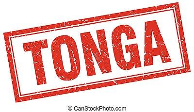 Tonga red square grunge stamp on white