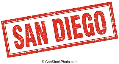 San Diego red square grunge stamp on white