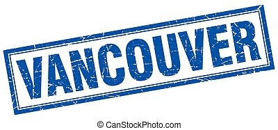 Vancouver blue square grunge stamp on white
