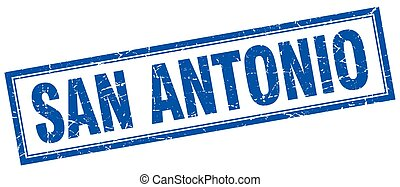 San Antonio blue square grunge stamp on white