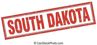 South Dakota red square grunge stamp on white