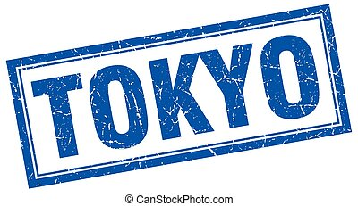 Tokyo blue square grunge stamp on white