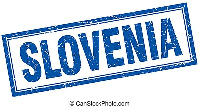 Slovenia blue square grunge stamp on white