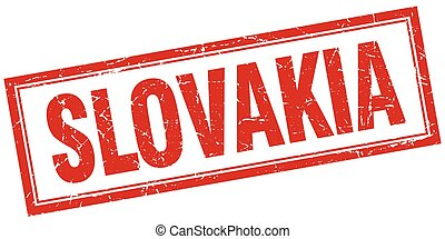 Slovakia red square grunge stamp on white