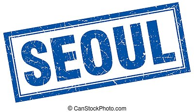 Seoul blue square grunge stamp on white