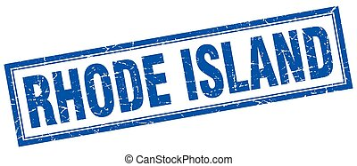 Rhode Island blue square grunge stamp on white