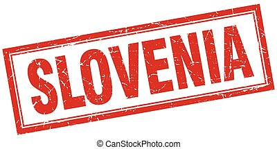 Slovenia red square grunge stamp on white