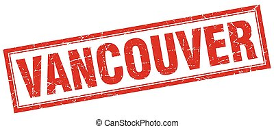 Vancouver red square grunge stamp on white