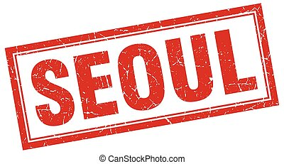 Seoul red square grunge stamp on white