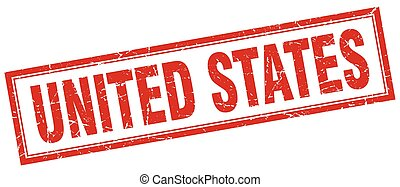 United States red square grunge stamp on white