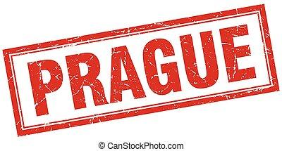 Prague red square grunge stamp on white