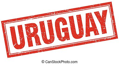 Uruguay red square grunge stamp on white