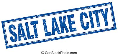 Salt Lake City blue square grunge stamp on white