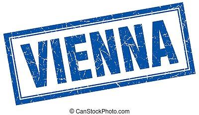 Vienna blue square grunge stamp on white