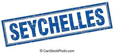 Seychelles blue square grunge stamp on white