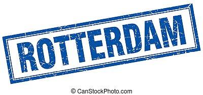 Rotterdam blue square grunge stamp on white
