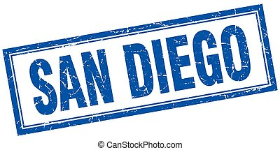 San Diego blue square grunge stamp on white