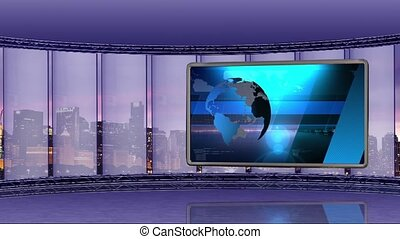 News TV Studio Set -90 - News TV Studio Set 90-Virtual Green...