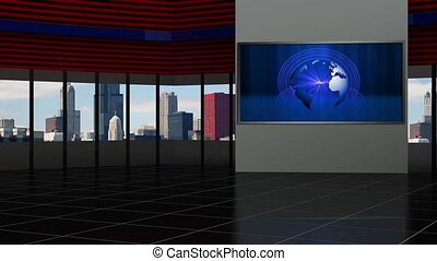 News TV Studio Set- 93 - News TV Studio Set 93 - Virtual...