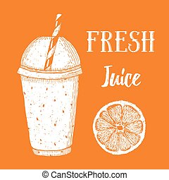 Fresh orange juice in vintage style, vector poster