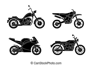 Motorcycles silhouettes set.