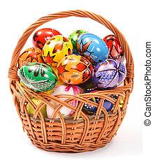 Pascua, huevos, mimbre, cesta