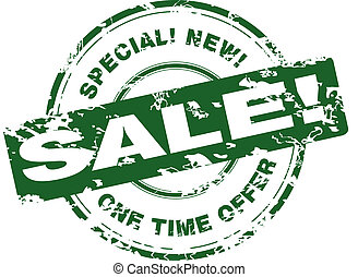 Sale. Green rubber stamp.