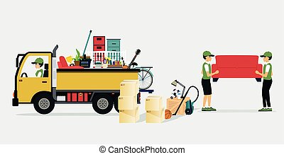 Moving Services - Workers transport services and...
