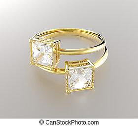 Golden wedding rings with diamonds.. 3D rendering
