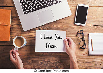 I love you mom sign Studio shot, wooden background - I love...