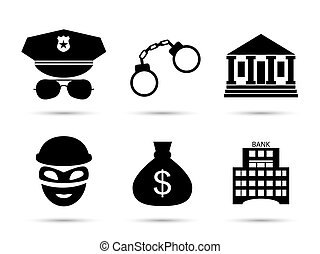 Criminal and prison vector icons set - Criminal and prison...