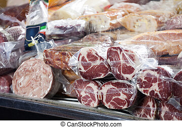 Closeup Of Meat Displayed At Counter - Closeup of meat...