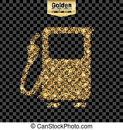Gold glitter vector icon of gas station isolated on background. Art creative concept illustration for web, glow light confetti, bright sequins, sparkle tinsel, bling logo, shimmer dust, foil.