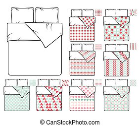 Bedding and linen vector template sample patterns set -...