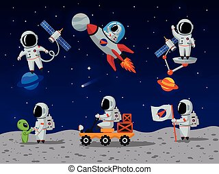 Astronauts vector characters set in flat cartoon style