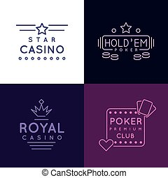 Gambling emblems of Poker club and casino Vector icons set...