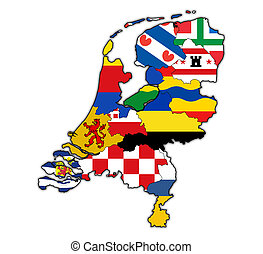 map of provinces of netherlands - flags of provinces on map...