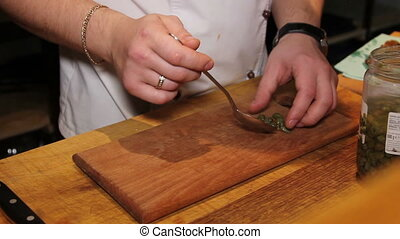 Capparis in restaurant culinary - cooking caper sauce for...