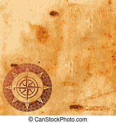 old paper texture and compass rose - Background image with...