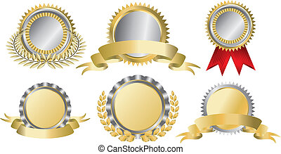 Gold and silver award ribbons. This image is a vector...