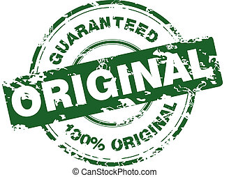 Green grunge stamp with 100% original guaranteed