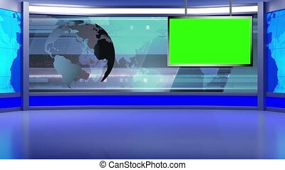 News TV Studio Set -97 - News TV Studio Set 97 - Virtual...