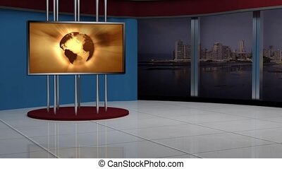 News TV Studio Set -95 - News TV Studio Set 95 - Virtual...