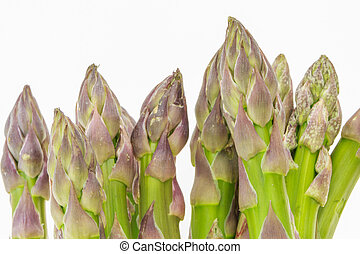 Bunch of asparagus tops macro closeup, isolated on white background.