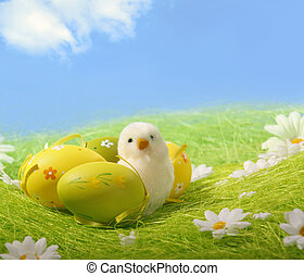 Painted Colorful Easter Egg - Little white Easter chick and...